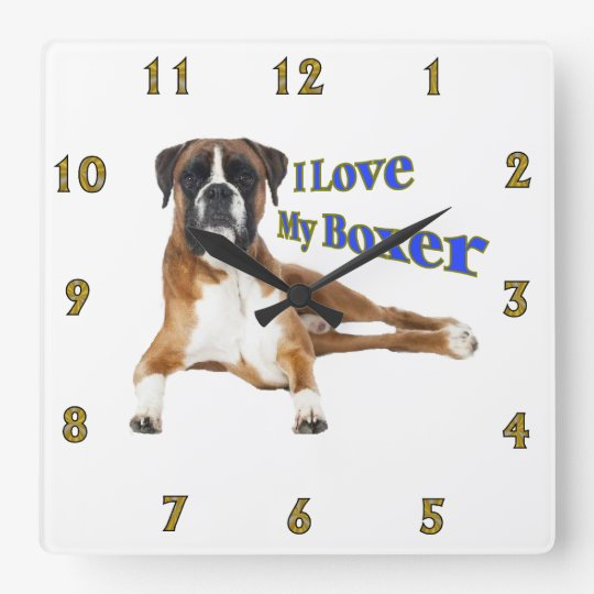 I Love my Boxer Wallclocks