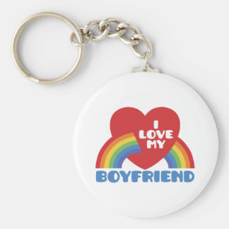 I Love My Boyfriend Basic Round Button Keychain