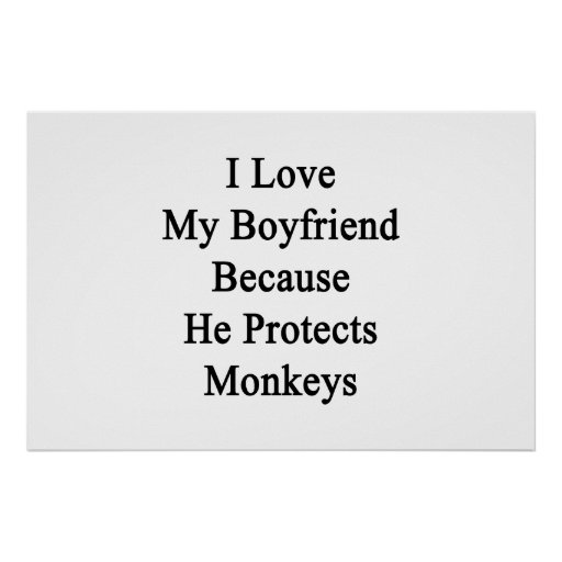 I Love My Boyfriend Because He Protects Monkeys Posters