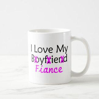 I Love My Boyfriend Fiance Pink Mugs