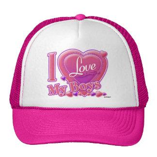 I Love My Boys pink/purple - heart Trucker Hat