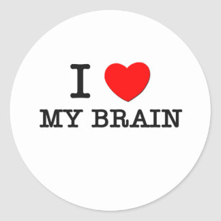 I Love My Brain Classic Round Sticker
