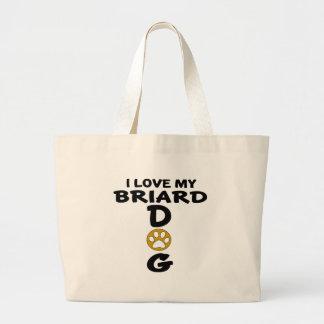 I Love My Briard Dog Designs Large Tote Bag