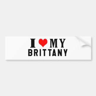 I Love My Brittany Bumper Sticker
