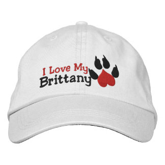 I Love My Brittany Dog Paw Print Embroidered Hat
