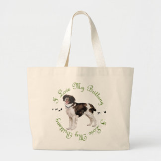 I Love My Brittany Large Tote Bag