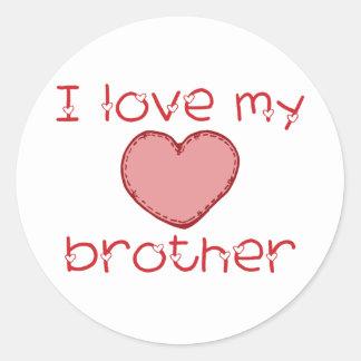 I love my brother round sticker