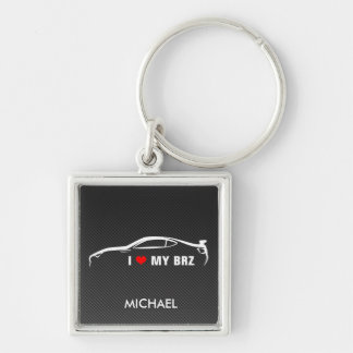 I Love My BRZ Silver-Colored Square Keychain