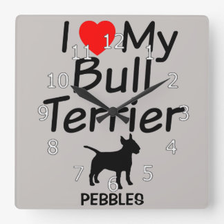 I Love My Bull Terrier Dog Clock