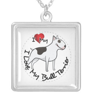 I Love My Bull Terrier Dog Silver Plated Necklace