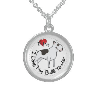 I Love My Bull Terrier Dog Sterling Silver Necklace
