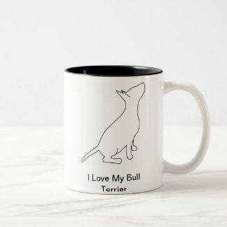 I Love My Bull terrier Two-Tone Coffee Mug