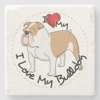 I Love My Bulldog Dog Stone Coaster