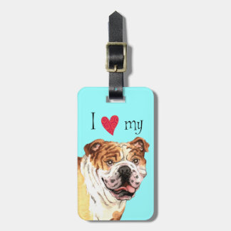 I Love my Bulldog Luggage Tag