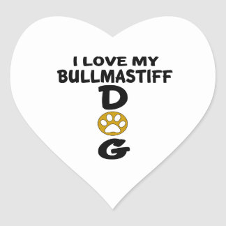 I Love My Bullmastiff Dog Designs Heart Sticker