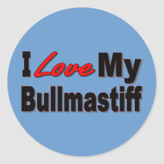 I Love My Bullmastiff Dog Merchandise Round Sticker
