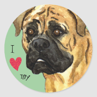 I Love my Bullmastiff Round Sticker