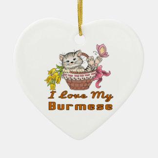 I Love My Burmese Ceramic Heart Ornament