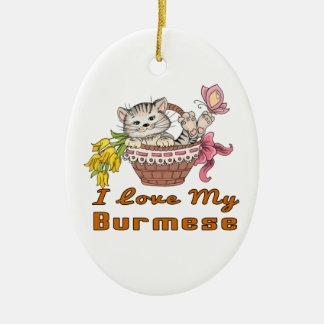I Love My Burmese Ceramic Oval Ornament