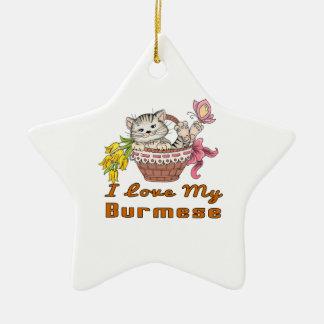I Love My Burmese Ceramic Star Ornament