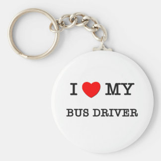 I Love My BUS DRIVER Basic Round Button Keychain
