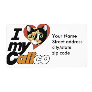 I Love my CALICO cat Shipping Label
