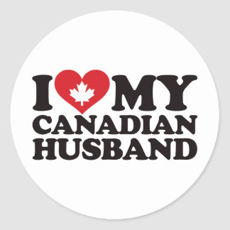 I Love My Canadian Husband Classic Round Sticker