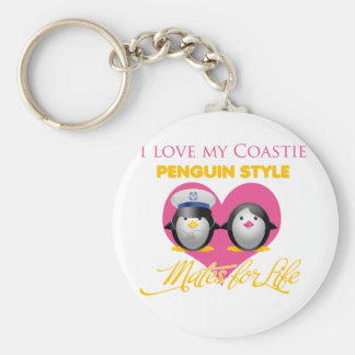 I Love My Caostie Penguin Style Basic Round Button Keychain