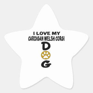 I Love My Cardigan Welsh Corgi Dog Designs Star Sticker