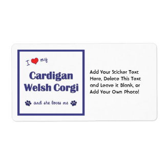 I Love My Cardigan Welsh Corgi (Female Dog) Shipping Label
