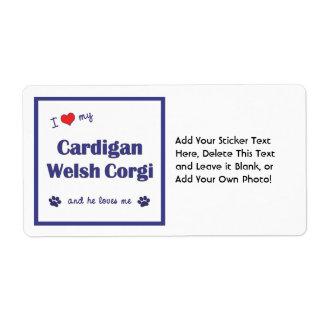 I Love My Cardigan Welsh Corgi (Male Dog) Shipping Label