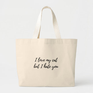 I Love My Cat - Black Large Tote Bag