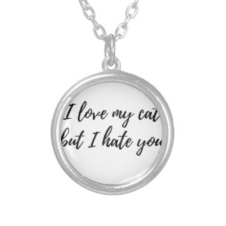 I Love My Cat - Black Silver Plated Necklace