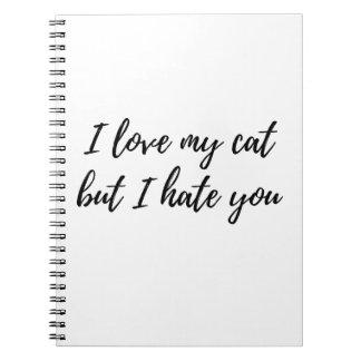I Love My Cat - Black Spiral Notebook