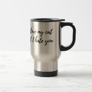I Love My Cat - Black Travel Mug