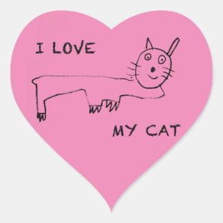 I Love My Cat Heart Sticker