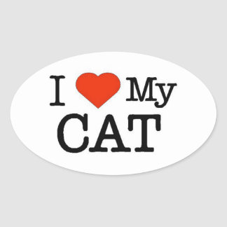 I Love My Cat Oval Sticker