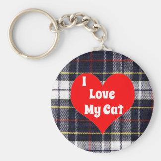 I Love My Cat Plaid Keychain