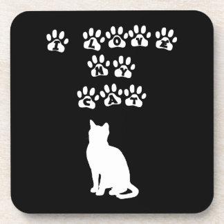 I Love My Cat White Coaster