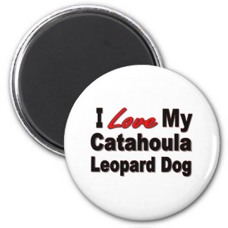 I Love My Catahoula Leopard Dog Merchandise 2 Inch Round Magnet