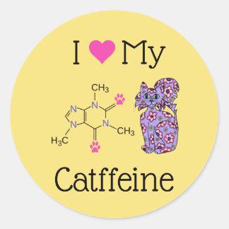I Love My Catffeine Caffeine Cute Purple Cat Classic Round Sticker