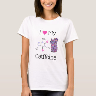 I Love My Catffeine Caffeine Cute Purple Cat Funny T-Shirt