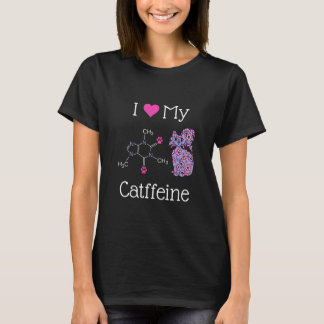 I Love My Catffeine Caffeine Purple Cat Funny Dark T-Shirt