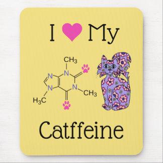 I Love My Catffeine Caffeine Purple Cat Yellow Mouse Pad