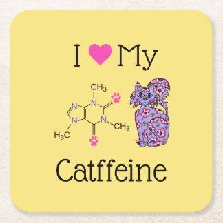 I Love My Catffeine Caffeine Whimsical Purple Cat Square Paper Coaster