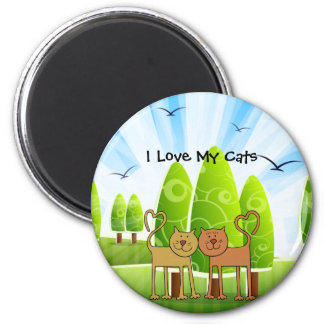 """""""I Love My Cats"""" charming refrigerator magnet"""