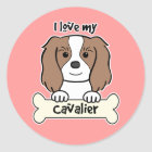 I Love My Cavalier King Charles Spaniel Classic Round Sticker