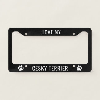 I Love My Cesky Terrier License Plate Frame