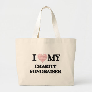 I love my Charity Fundraiser (Heart Made from Word Jumbo Tote Bag