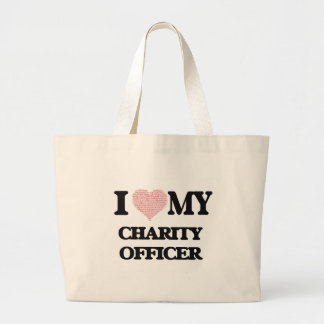 I love my Charity Officer (Heart Made from Words) Jumbo Tote Bag